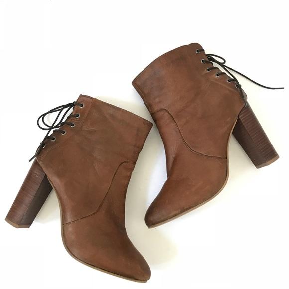 5c7e493328a Steve Madden leather cognac bootie lace up brown